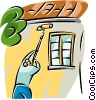 person painting a house Vector Clipart picture