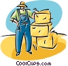 Vector Clip Art graphic  of a farmer with bails of hay