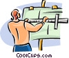 Vector Clip Art image  of a man working on a architectural
