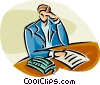 Vector Clip Art graphic  of a businesswoman doing office