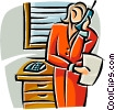 businesswoman talking on the telephone Vector Clipart graphic