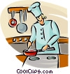 chef preparing a meal in a frying pan Vector Clipart illustration