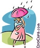 Vector Clipart illustration  of a woman walking in the rain
