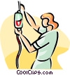 nurse replacing a bag of blood Vector Clip Art image