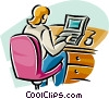 woman working at her notebook computer Vector Clip Art graphic