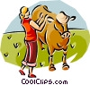 Vector Clip Art picture  of a woman and her cow
