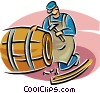 Vector Clip Art graphic  of a cooper
