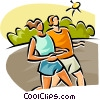 man and woman running Vector Clipart illustration