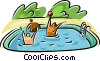 Vector Clip Art picture  of a people in a swimming pool