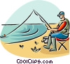 fisherman fishing from the beach Vector Clipart illustration