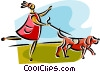 Vector Clipart image  of a woman walking the dog