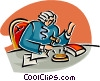 Vector Clip Art image  of a judge pounding his gavel