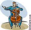 Vector Clipart illustration  of a cellist