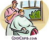 Vector Clipart illustration  of a man getting his hair cut at