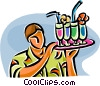 Vector Clip Art image  of a waiter with a tray of drinks