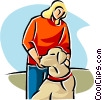 woman with her pet dog Vector Clip Art graphic