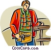 Vector Clip Art picture  of a man repairing a fence