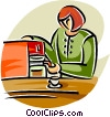 Vector Clipart graphic  of a woman making coffee