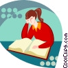 Vector Clip Art picture  of a girl reading a book