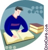 Vector Clip Art image  of a male student reading a book