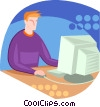 Vector Clipart image  of a man working at the computer