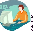 Vector Clipart graphic  of a woman working at the computer