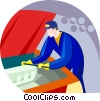 Vector Clip Art graphic  of an auto mechanic