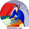 Vector Clip Art image  of an auto mechanic