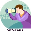 Vector Clip Art picture  of a photographer with a zoom lens