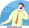 Businessman talking on a cell phone Vector Clip Art image