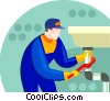 Vector Clipart graphic  of a plumber working at the sink