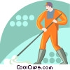 Vector Clip Art picture  of a man with a mop