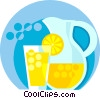 Vector Clipart image  of a lemonade glass and pitcher