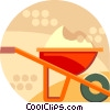 wheelbarrow full of dirt Vector Clip Art graphic