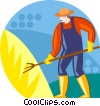 farmer pitching hay Vector Clipart graphic