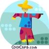 Vector Clipart image  of a scarecrows