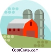 Vector Clipart graphic  of a barn with silos