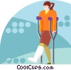 Vector Clip Art image  of a Woman on crutches