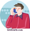 man taking his asthma medicine Vector Clipart image