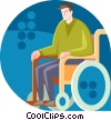 Physically disabled man in a wheelchair Vector Clipart illustration