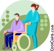 Vector Clip Art image  of a Physically disabled man in a