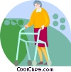Elderly woman with a walker Vector Clip Art image