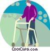Vector Clip Art picture  of a elderly man with a walker