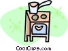 pot sitting on the stove Vector Clipart illustration