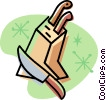 Vector Clip Art image  of a knives in a wooden block