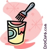 Vector Clipart image  of a paint can with brush