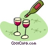 Vector Clip Art image  of a wine bottle with glasses