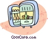 Vector Clipart graphic  of a refrigerator with the door