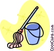 Vector Clip Art graphic  of a mop and pail
