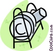 Vector Clip Art graphic  of a dish rack with dishes